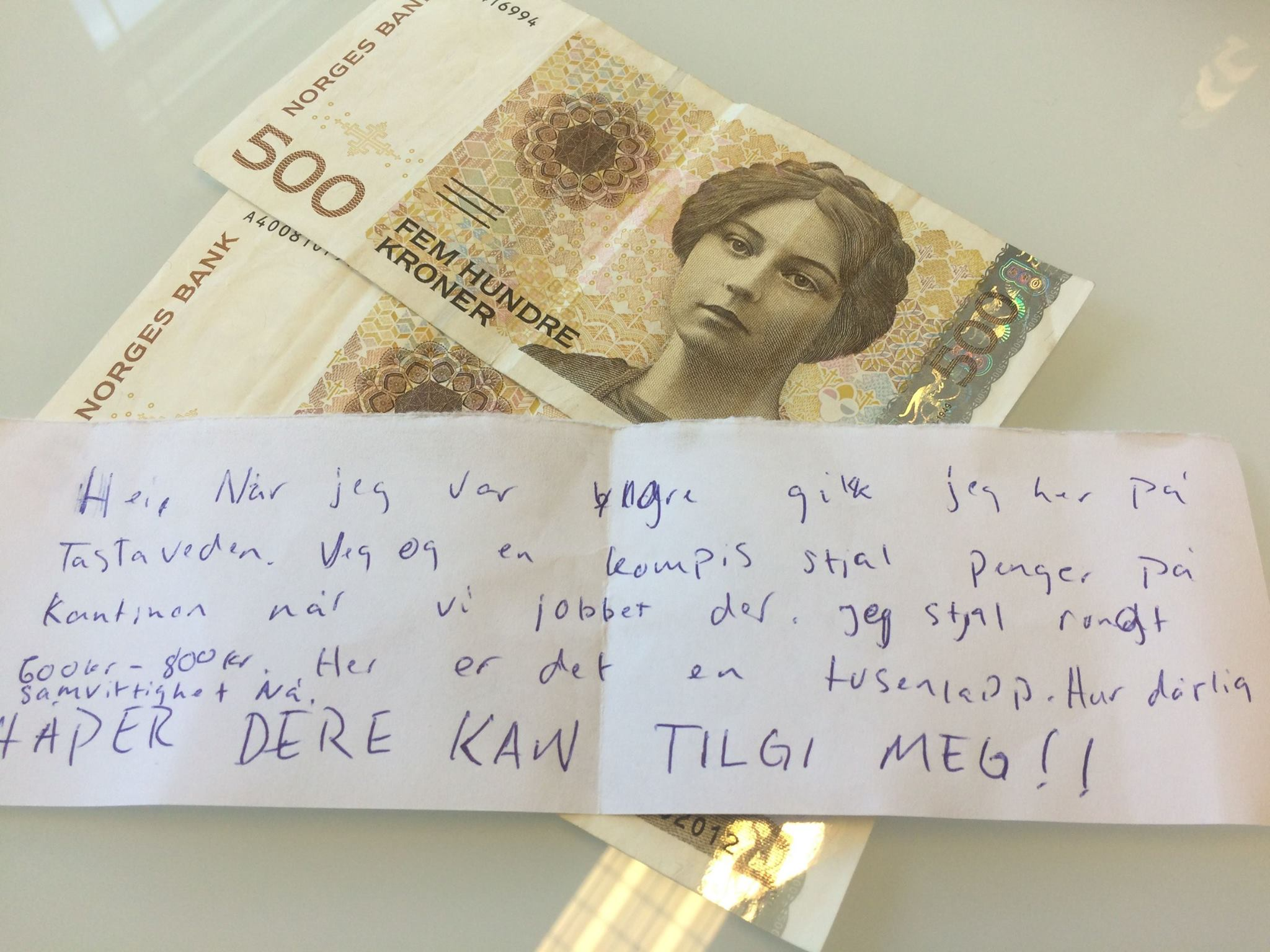 Repentant Young Thief in Norway Sent Money to School